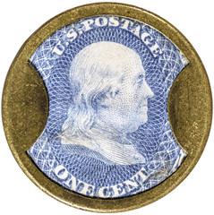 One Cent Weir & Larminie Encased Postage Stamp obverse