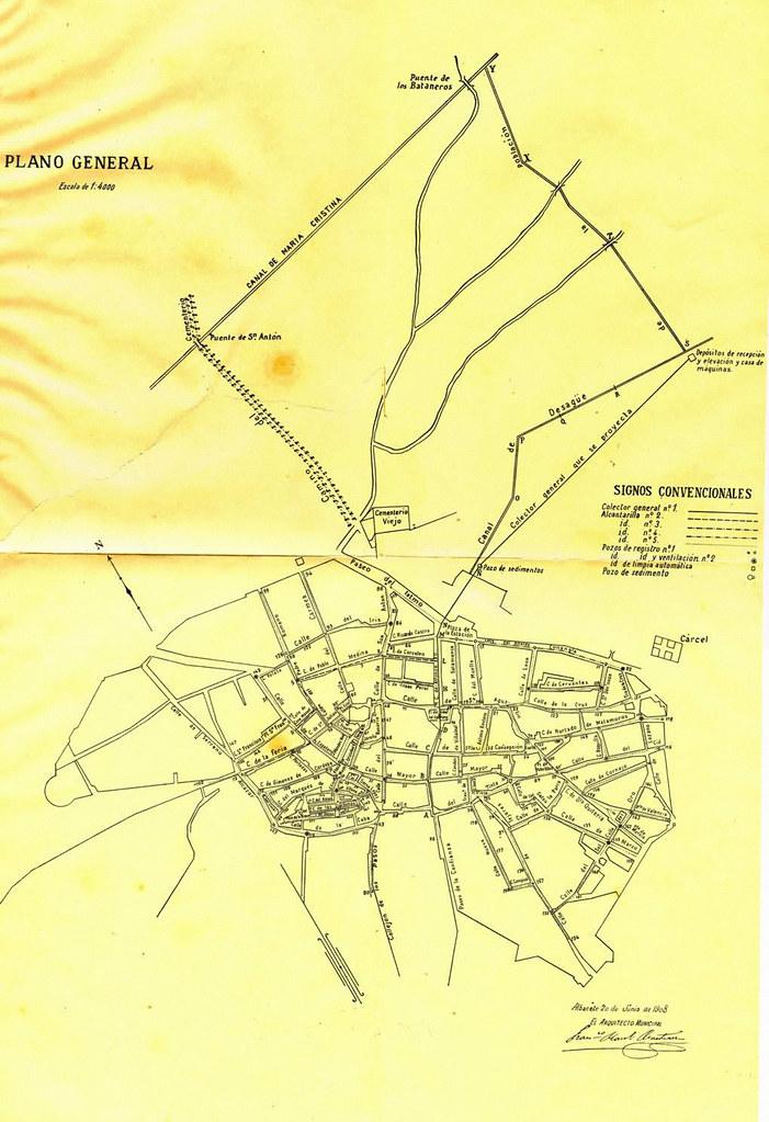 plano del alcantarillado proyectado 1908