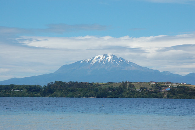 Views of Volcán Calbuco over Lago Llanquihue from Puerto Varas, Chile