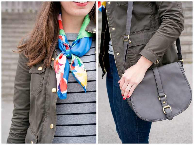 stripes + floral scarf + gray crossbody purse + J.Crew jacket