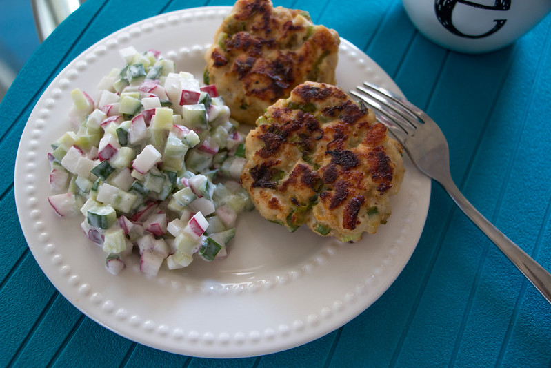 04.24. Chicken croquetes with radish-cucumber salad