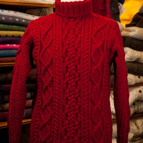 Hot red sexy cabled turtleneck