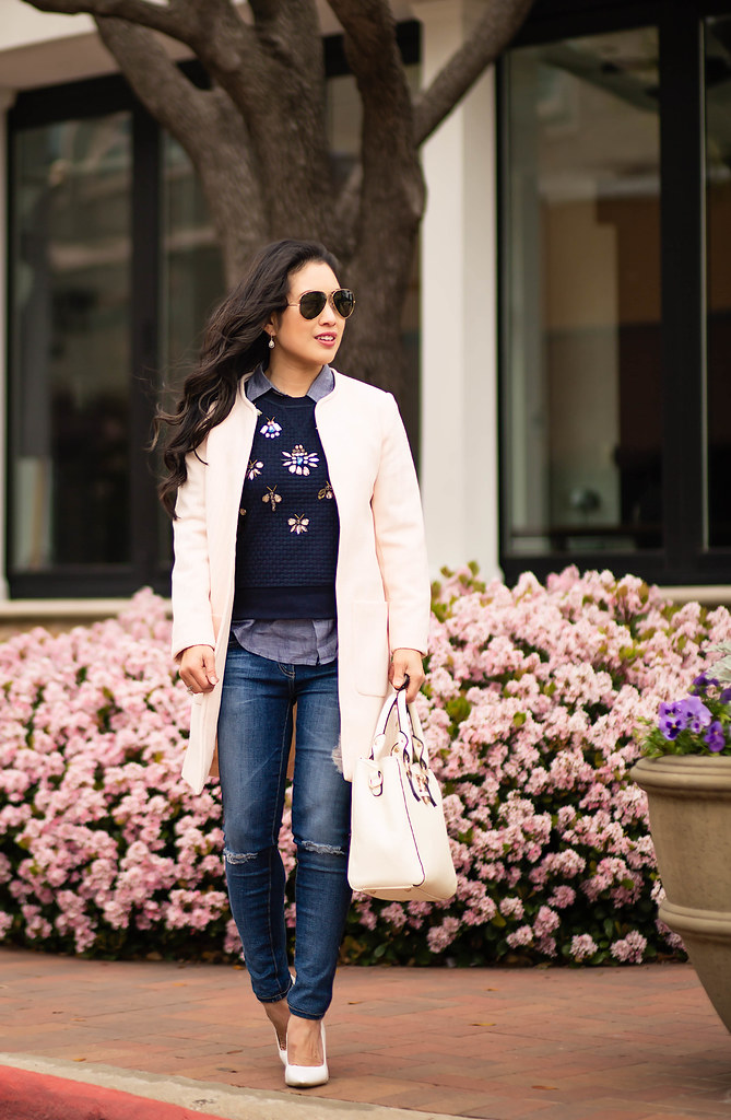 cute & little blog | pink textured coat, jeweled sweater, chambray shirt, distressed petite jeans, white pumps, ray ban aviators | spring outfit