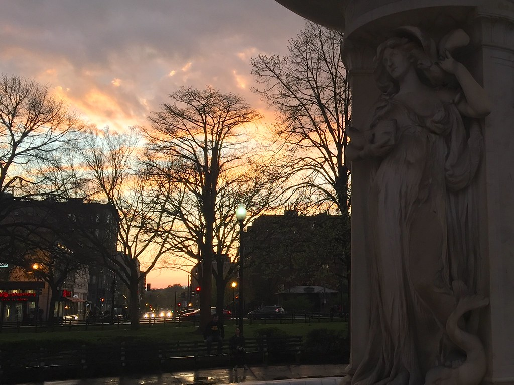 sunset after a rainy day at Dupont Circle