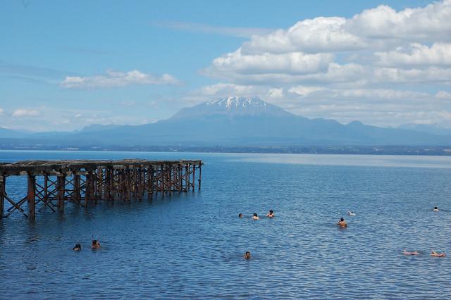Volcán Calbuco over Lago Llanquihue, from Llanquihue, Los Lagos, Chile
