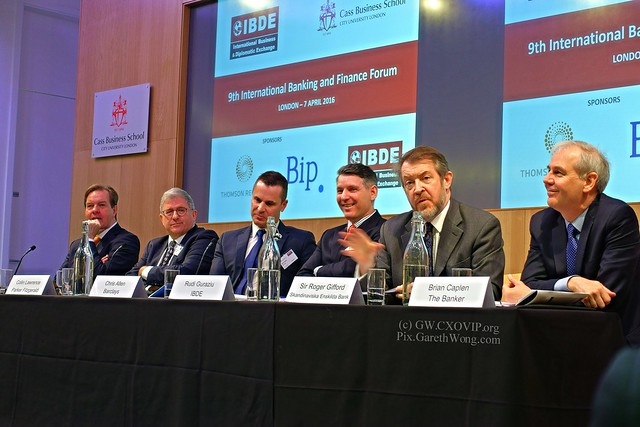 Sir Roger Gifford, Head of UK, SEB, Chris Allen, Global Head of Regulatory Policy, Barclays Dr Colin Lawrence, Partner, MD Parker Fitzgerald, Brian Caplen, Editor, The Banker, Rudi Guraziu, Exec Chairman, IBDE from RAW _DSC0329