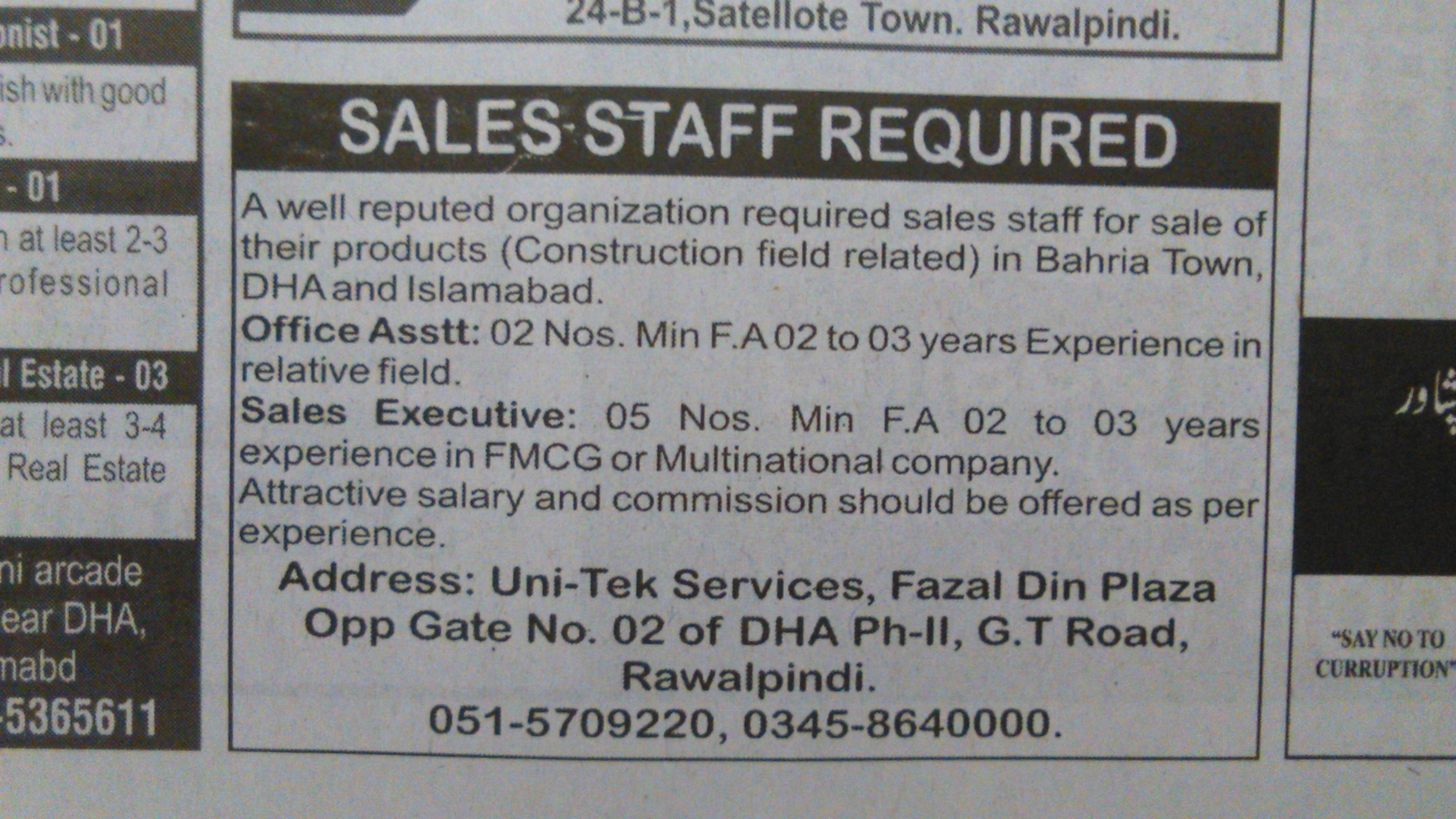 UniTech Services Sales Staff Required