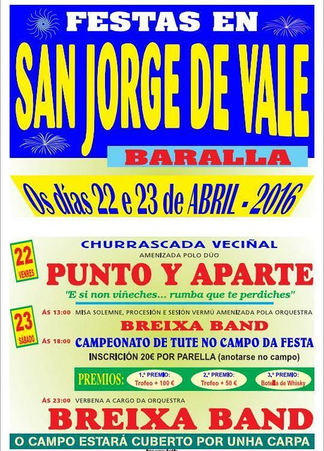 Baralla 2016- Festas de San Xurxo de Vale - cartel