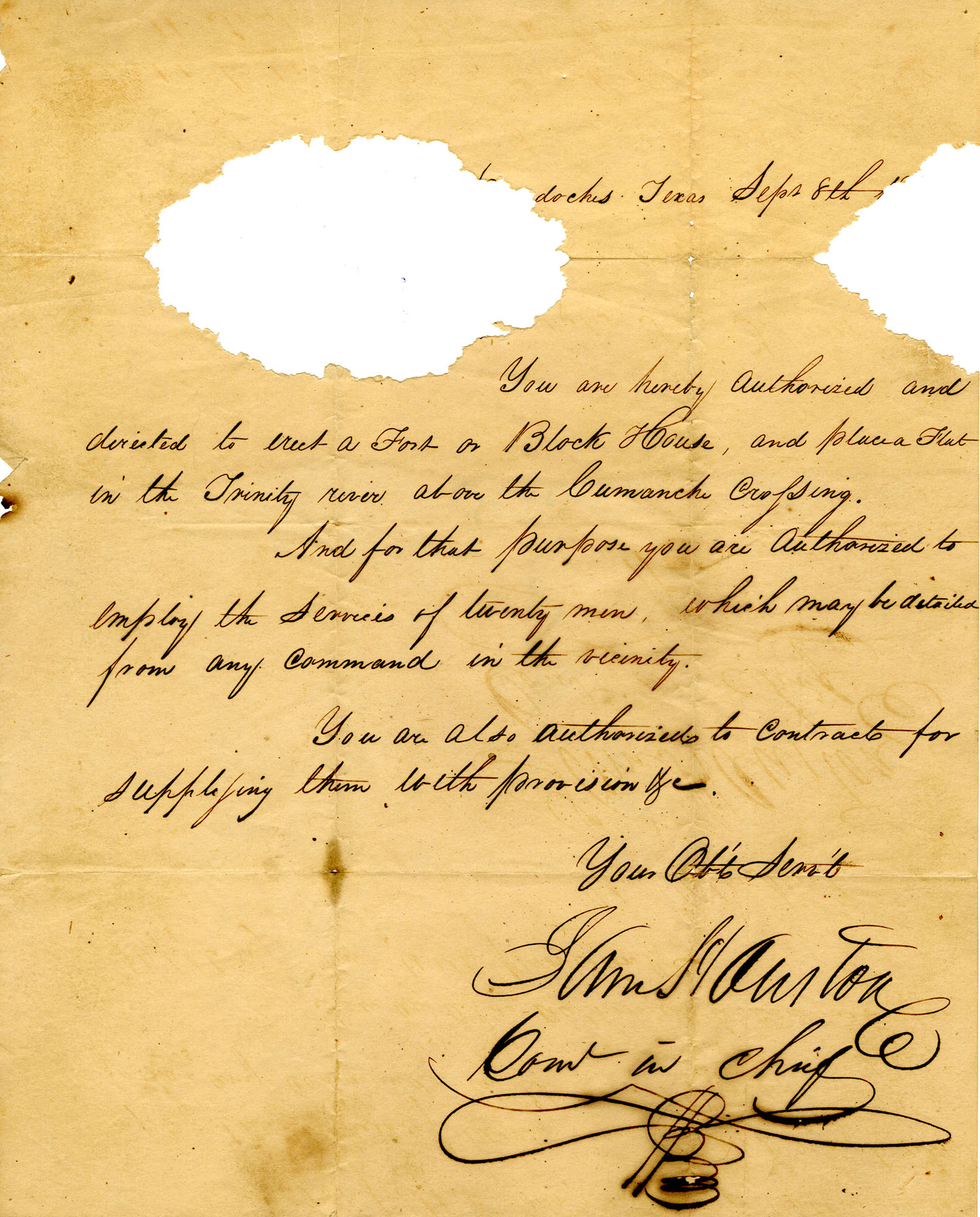 Letter from Sam Houston to Daniel Parker, 1836
