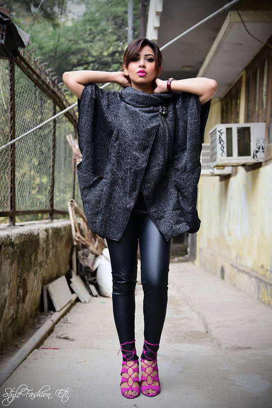 Srish SheInside Fall fashion Hauz khas Punk Annaikka kanika saluja michael kors forever 21 lace up heels pink leather leggings zara fashion blogger style street style