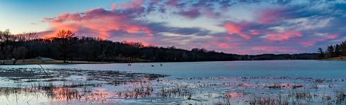 park winter sunset panorama lake ice water dusk wyandottecounty 2016 wyandottecountylake
