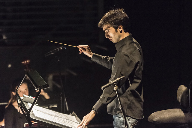 Jonathan Santagada conducting The Lighthouse as part of Meet the Young Artists Week © 2015 ROH. Photograph by Clive Barda