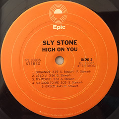 SLY STONE:HIGH ON YOU(LABEL SIDE-B)