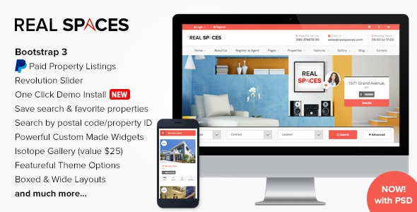 Themeforest Real Spaces v1.9 - Wordpress Real Estate Theme