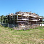 Holt Castle during consolidation work, view from the south, July 2013