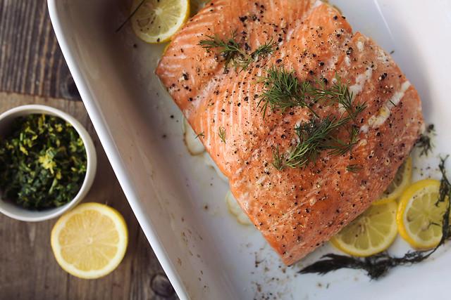 Slow Roasted Salmon with Meyer Lemon Gremolata