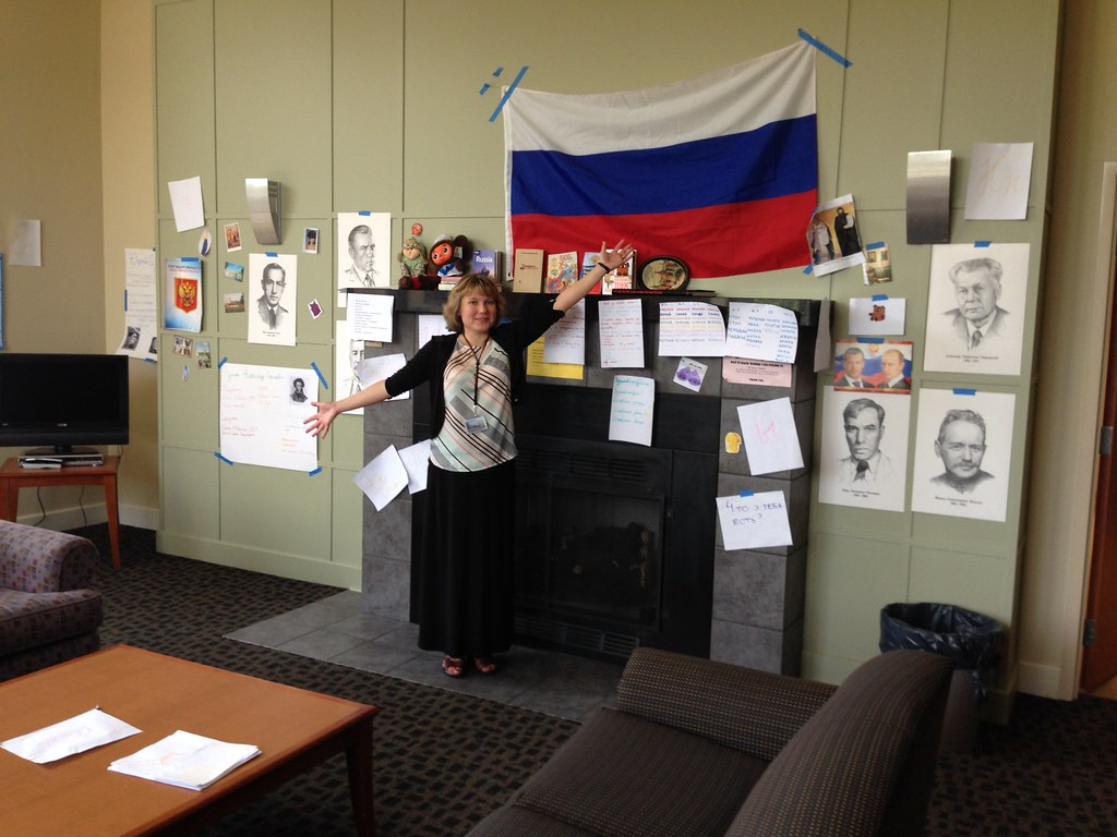 Dr. Bystrova with a Russian flag and various writings and drawings.