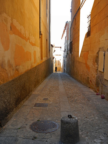 A golden alley in Segovia, Spain