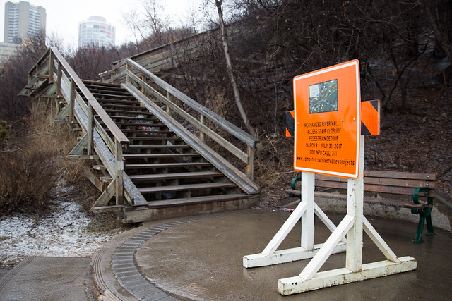 Stairs closed for Mechanized River Valley Access project