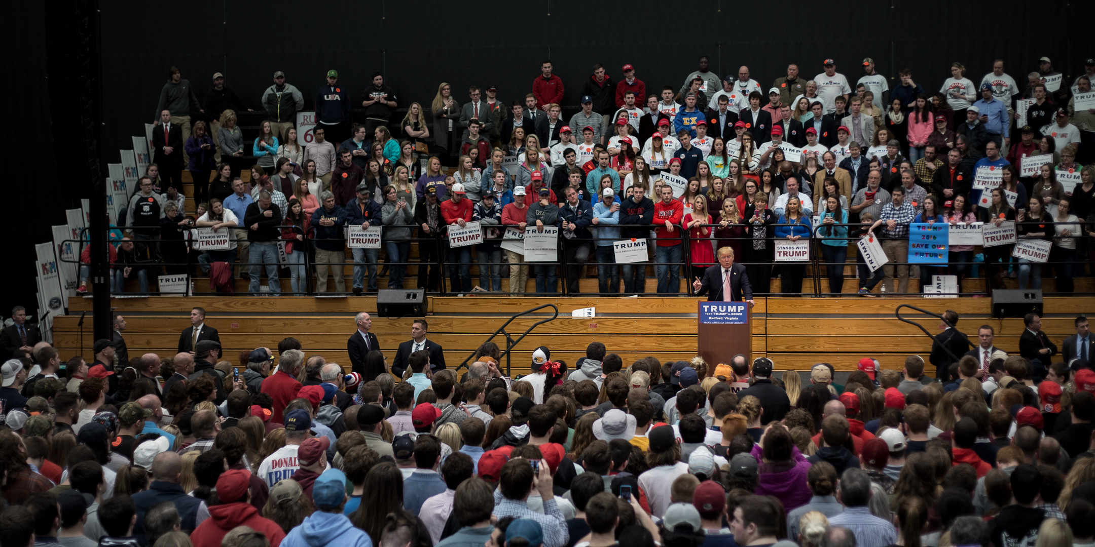 Donald Trump, surrounded by supporters at a Feb. 29 rally in Radford, Va.