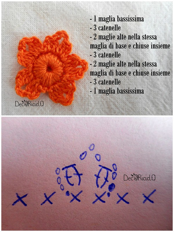 fiori uncinetto un solo schema 7