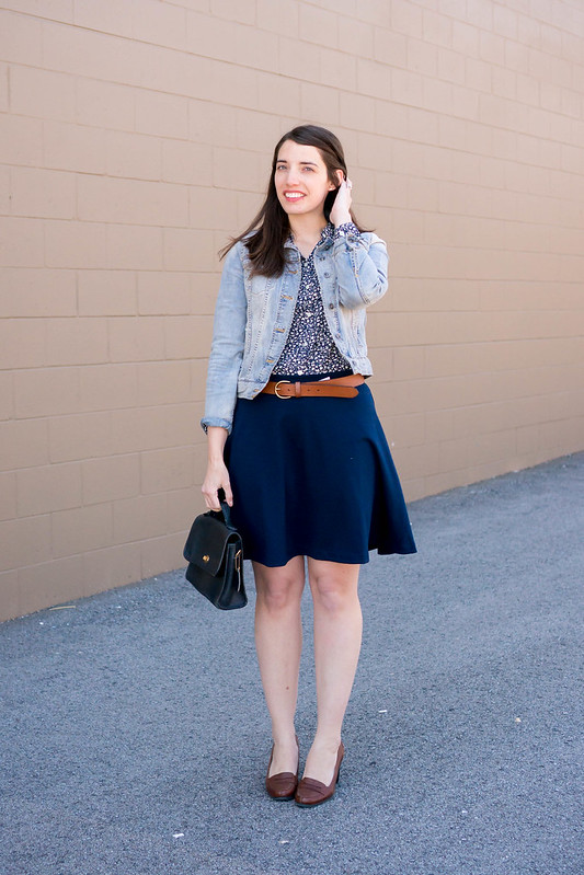 Target denim jacket + Loft utility blouse + navy skirt + Madewell belt | Style On Target