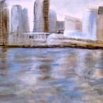 Die Stadt, 80x80 cm, Mischtechnik-Ei-Tempera/Pastellkreide