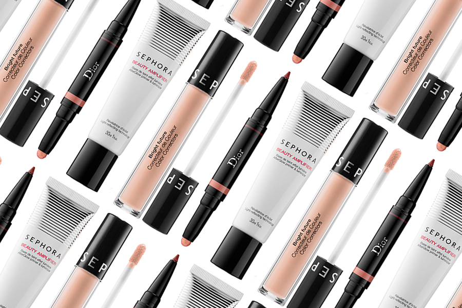 Dior Diorshow Colour and Contour Eyeshadow and Liner Duo, Sephora Collection Beauty Amplifier Afterglow Primer and Luminizer, Sephora Collection Bright Future Color Correctors