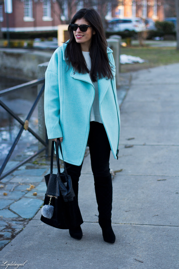 mint cocoon coat, black jeans, white sweater, black boots-4.jpg
