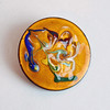 Vintage Mid-Century Modern Enamel on Copper Round Brooch - Abstract Flowering Plant