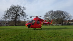 Air ambulance at Mountsfield Park