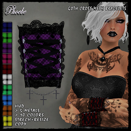 EXCLUSIVE NEW! *P* Goth Cross Mesh Bracelets ~Plaids HUD~