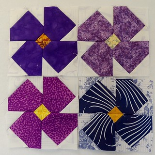 Four Violet Blocks for Sampler