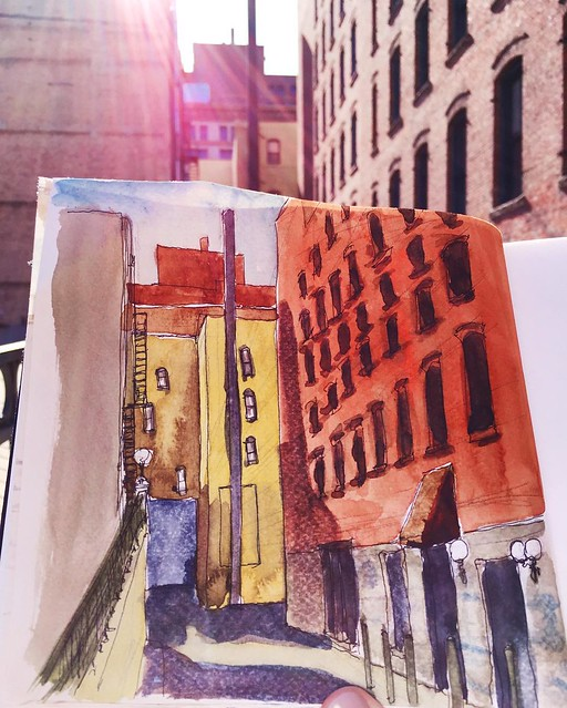 Light and shadow in #lowertown #stpaul #alley #urbansketcherstwincities #urbansketchers #pleinair