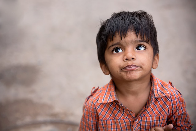 Portrait of a little boy in Jodhpur, Rajasthan, India.