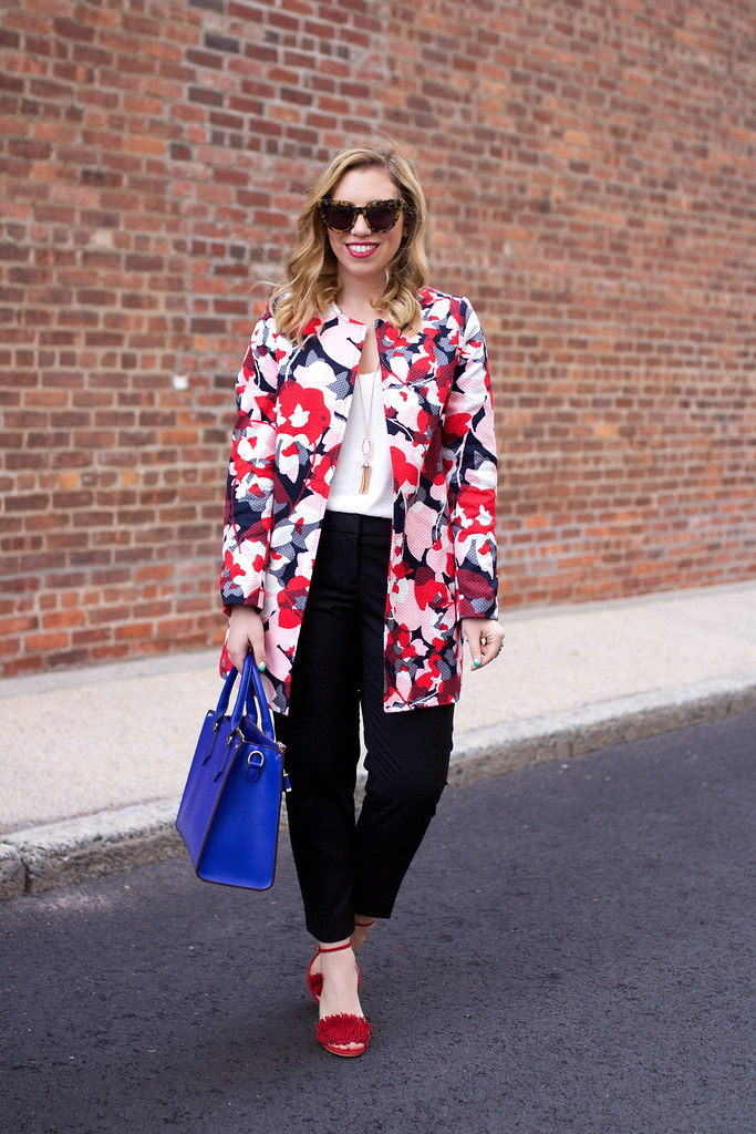 Spring Pastel Outfit | The Limited Printed Floral Coat | The Limited Lexie Pants | Banana Republic Red Fringe Sandals on Living After Midnite