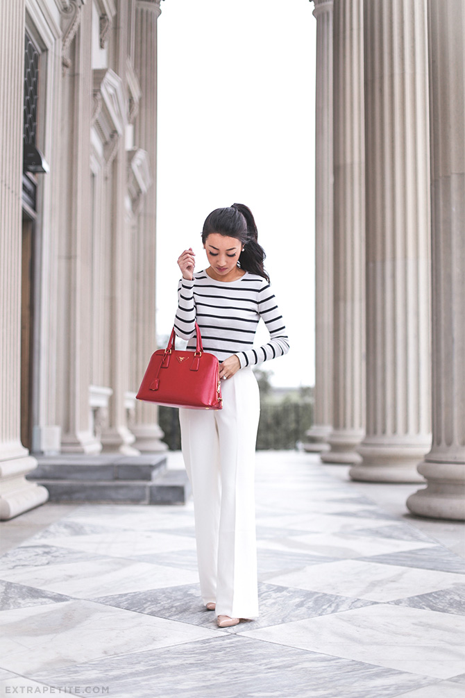 classic style petite outfit cream trousers
