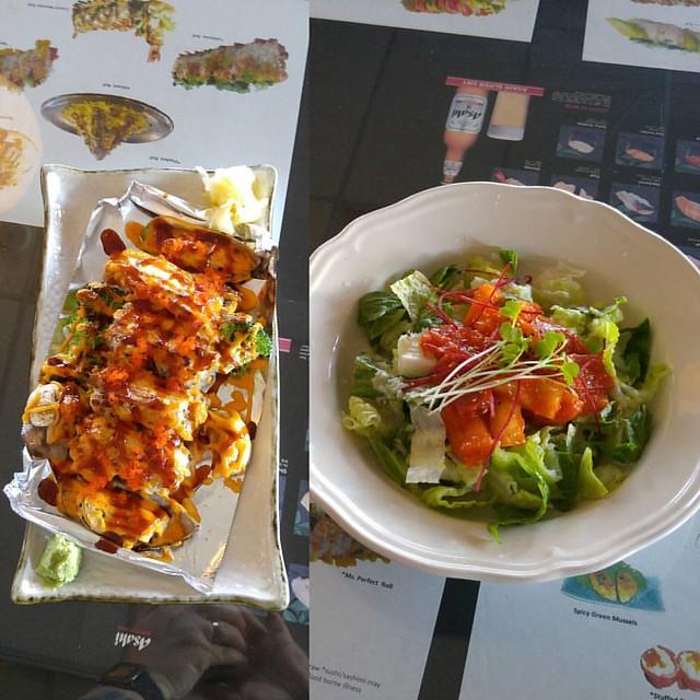 Pizza roll, spicy sashimi salad