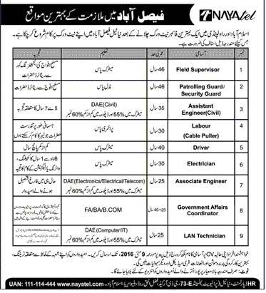 Nayatel Faislabad Carrer Opportunities