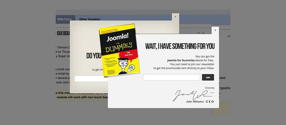 JBounce the pop – up window with spectacular settings