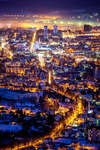 cityscape bosnia luka banja balkan republika bosna srpska banjaluka nocu