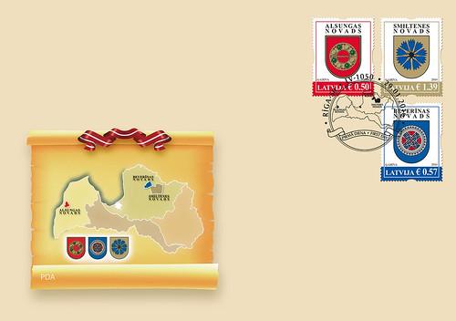 """Pirmās dienas aploksne pastmarkām sērijā """"Latvijas novadu un pilsētu ģerboņi"""""""