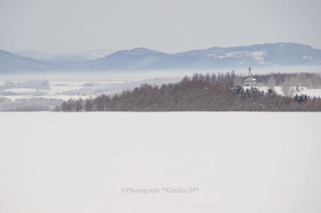 冬霧漂う丘