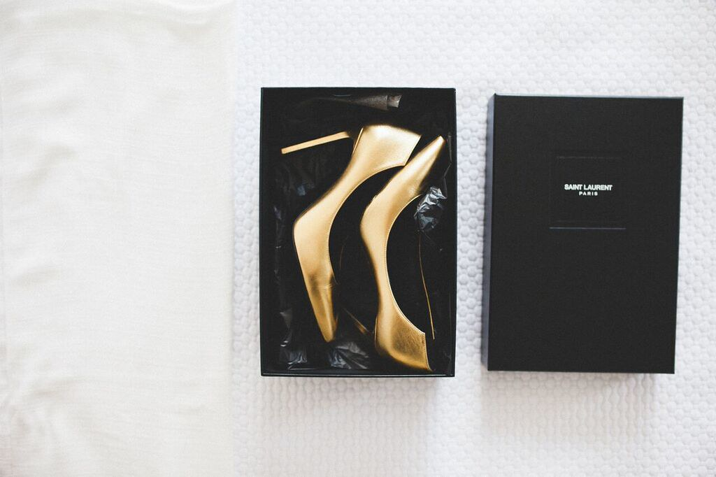 Gold Shoes by Yves Saint Laurent - Midnight blue, black, gold, neon accents Summer Wedding | fabmood.com