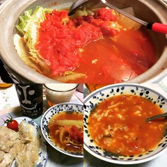 tomato curry nabe(hot pot), gyoza, beer & ojiya with cheese to end❤︎  #sundaydinner #nabe #osaka #japan #gyoza #hotpot #トマトカレー鍋 #餃子 #チーズオジヤ