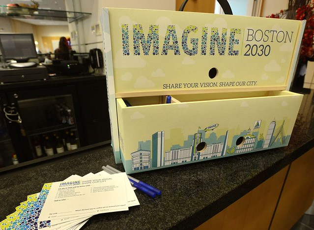 Suggestion Box for Imagine Boston 2030, citywide planning process. Photo Credit: Imagine Boston 2030.