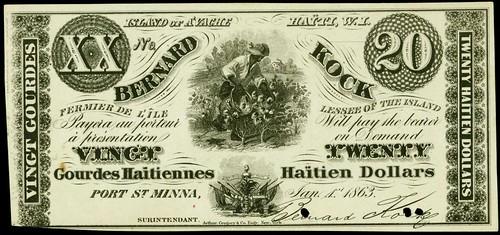 Haiti Bernard Kock 20 Dollars Note