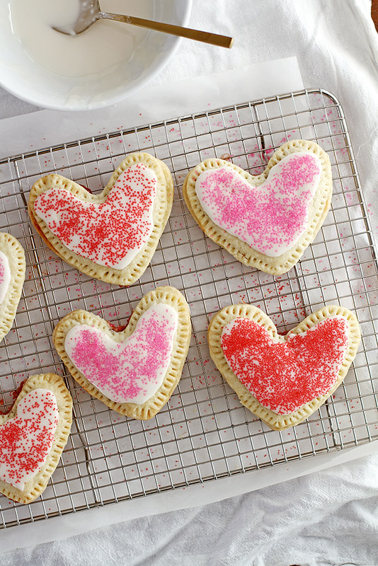 Heart-Shaped Strawberry Pop Tarts | girlversusdough.com @girlversusdough