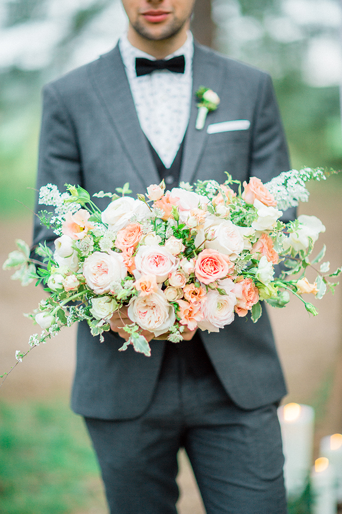 peach bouquet for a Romantic Woodland Wedding Inspiration { Soft Peach Tones } | Photo by Igor Kovchegin Photography | Read more on Fab Mood - UK wedding blog