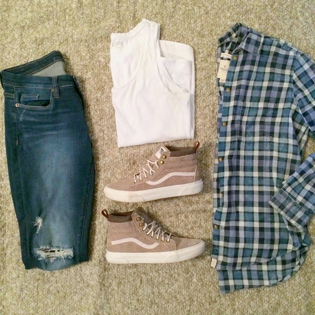 blue plaid flannel shirt + white tank top + distressed skinny jeans + Vans hi-tops